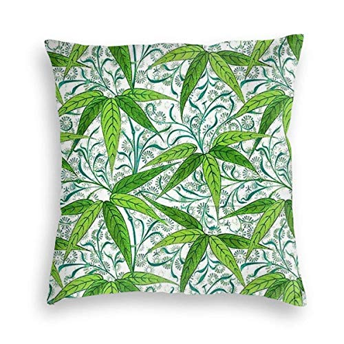 Pamela Hill Soft Pillow Case Green Leaves Bamboo Decorative Square Pillow Case Sofa Bedroom Car Cushion Cover 18x18inches 45x45cm