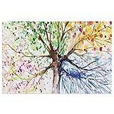 Felpudo para puerta de árbol de acuarela con ramas coloridas...