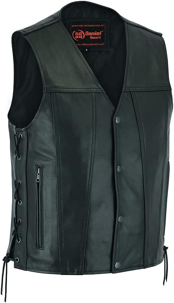 Daniel Smart Concealed Carry Vest, Leather, Single Back Panel, Men's