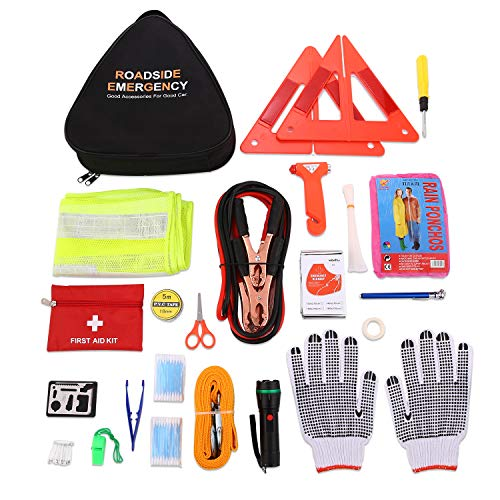 Car Emergency Kit Roadside Assistance Auto Emergency Kit, Multifunctional Car Tool Kits Emergency First aid kit (Triangle Bag - Contains Jumper Cables, Tools, Reflective Safety Triangle and Safety Ham
