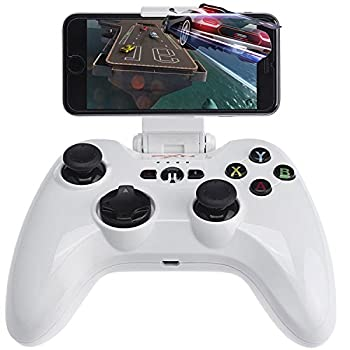 Wireless Gaming Gamepad Megadream MFi iOS Game Controller Joystick Compatible with iPhone Xs XR X 8 8Plus 7 7Plus 6S 5S 5 iPad iPad Mini 4 iPad Pro Apple TV iPod Touch & Drone White