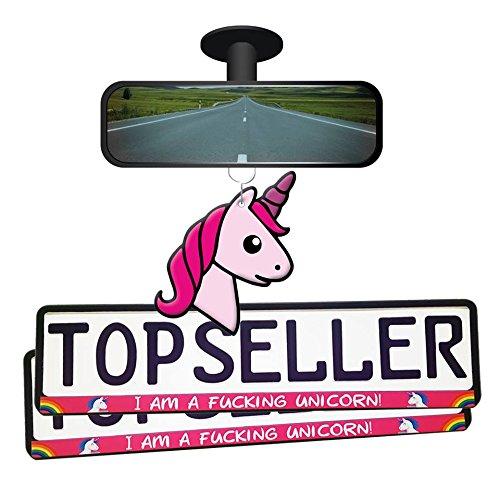 Einhorn Unicorn Autoset Pink Duftbaum Lufterfrischer Kennzeichenhalterung WOW