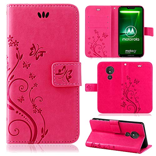 betterfon   Motorola Moto G7 Power Hülle Flower Hülle Handytasche Schutzhülle Blumen Klapptasche Handyhülle Handy Schale für Motorola Moto G7 Power Pink