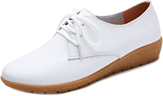 AUCDK Women Oxfords Soft Leather Upper Lightweight Lace Up Loafers with Slight Wedge Heel for Working and Driving
