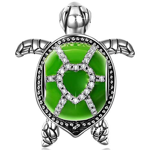 NinaQueen Wise Tortoise 925 Sterling Silver Green Enamel Happy Family Animal Bead Charms Fit pandöra Charms for Bracelets Necklace Christmas Gifts For Women Birthday Anniversary Gifts For Wife Her