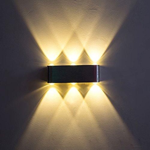 Wall lights LED Wall Lamp Indoor Wall Lamp Bedroom Bedside Lamp Garden Hotel Glow Wall Lamp 6W 8W Wall Lamp (Color : Warm light-8W)