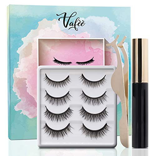 Vafee Magnetic Eyeliner and Lashes Kit, Magnetic Eyeliner for Magnetic Lashes Set, 4 Pair Reusable Lashes