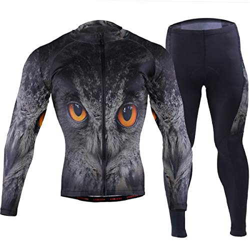 SLHFPX Mens Cycling Jersey Owl Evil Eyes Full Sleeve MTB Bike Shirt Pad Pants Set
