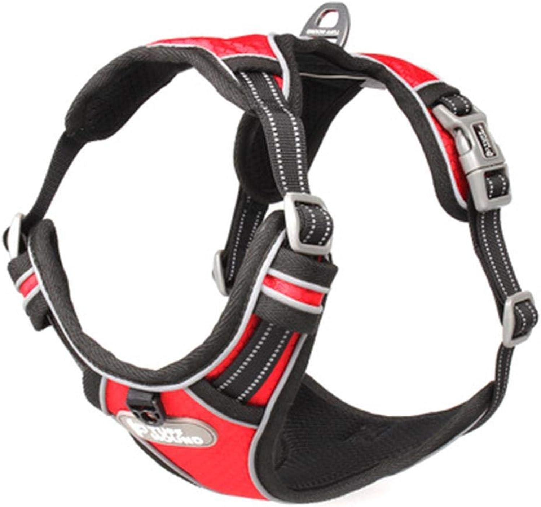Adjustable Large Pet Dog Harness No Pull Reflective Nylon Dog Adjustable Leash Chest Strap Vest Padded Harness,B,S