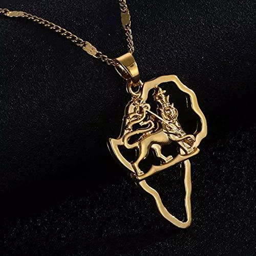 WDBUN Collar Colgante Collar con Colgante de Mapa de león de Color Dorado, joyería de Cadena de Animal Hiphop de Mapa Africano Navidad Día de la Madre Día de San Valentín cumpleaños Regalo