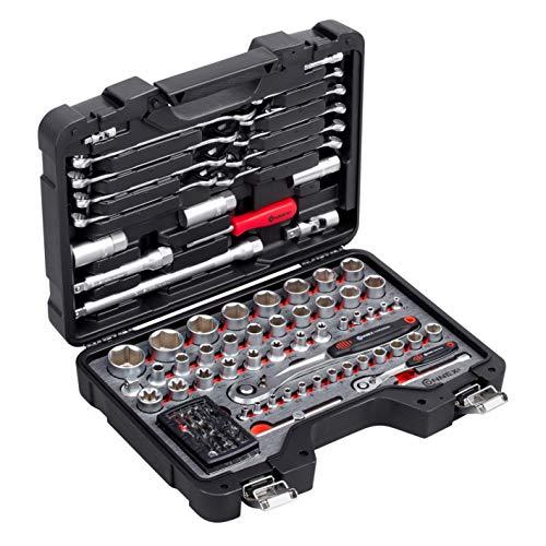 Connex Bit-und Steckschlüssel-Satz 99-teilig-Stabiler Kunststoffkoffer-1/4 & 1/2 Zoll-Mit Umschaltknarre-Für Montage-& Schraubarbeiten/Stecknuss-Set/Werkzeugkoffer / COXBOH600099