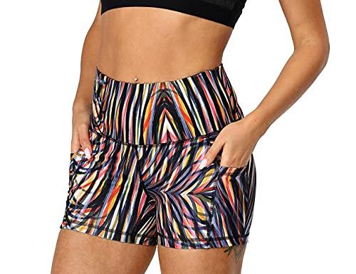 icyzone Workout Running Shorts for Women - Yoga Exercise Athletic Shorts Capris (M, Fireworks)