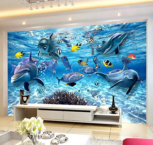Vandelkt Mundo Submarino Foto De Fondo Para Peces Foto De Dibujos Animados En 3D Mural Para Niños Sala De Estar Tv Telón De Fondo De Sofá, 4M (W) X2.5M (H)