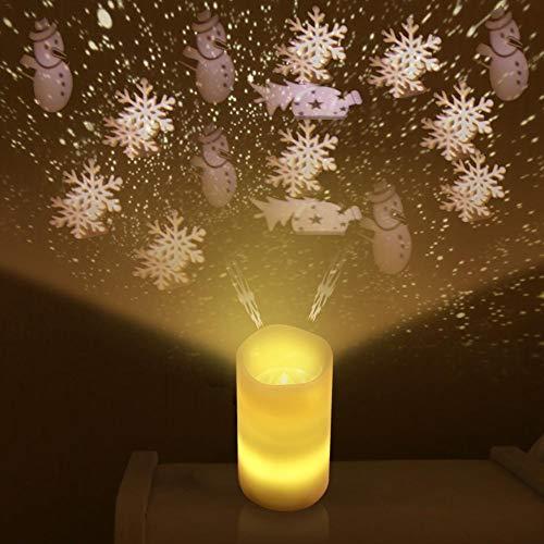 Proiettore a candela portatile Mini di Natale Candela senza fiamma senza fiamma LED luci di ripresa Candele a funzionamento a colonna - Perfette per creare un'atmosfera speciale a casa - Calmante