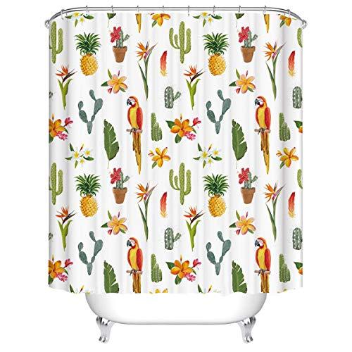 MRZHW Duschvorhang Wasserdicht Schimmelpilzsicher Waschbarer Badevorhang Badezimmer Vorhang 3D Polyester Badezimmer Duschvorhang-180x200cm Gelbgrün