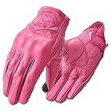 Guantes de Moto Marrones Guantes de Moto de Motociclista Retro Vintage de Cuero Genuino Guantes de Verano Guantes de Moto de Motocross de Medio Dedo - SCG-7114 Pink Women, M