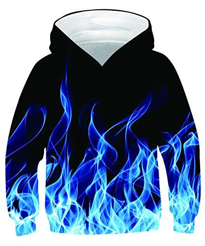 ALISISTER Felpe con Cappuccio Bambino 3D Cool Fumo Blu Design Felpa Sweatshirt Maglione da Bambino Manica Lunga con Cappuccio Jumper