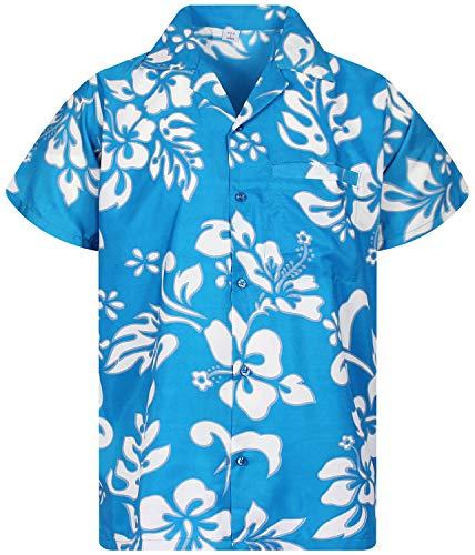 V.H.O. Funky Hawaiihemd, Kurzarm, Hibiskus, Türkis New, XL