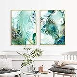 YANHUA Cuadros sobre lienzo abstracto de mármol verde menta galería póster interior dormitorio salón moderno sin marco (60 x 90 cm x 2)