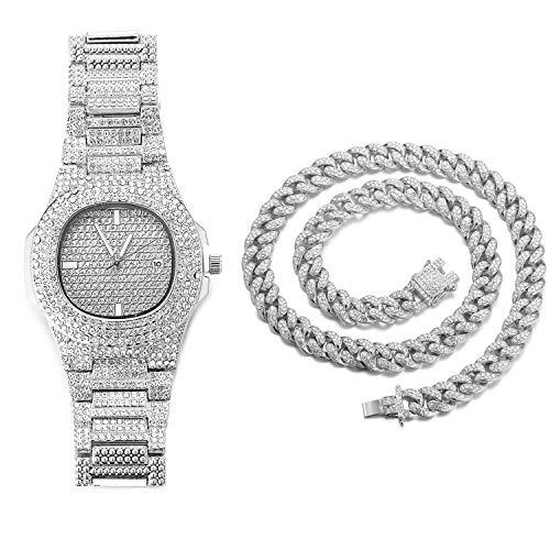 Halukakah Diamante Reloj de Oro Hombres,Platino Plateado en Oro Blanco Pulsera de Cuarzo 24cm,con Collar Cubana 45cm,Cz Completo Diamante de Laboratorios,Gratis Caja de Regalo