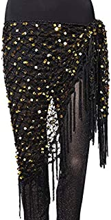 CHENTAOCS 15 Colors Belly Dance Clothes Accessories Stretchy Crochet Net Shawl Triangle Belt Belly Dance Hip Scarf Square Sequins Easy to use (Color : Gold)