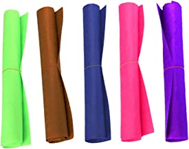 COSORO 5Pcs Large Felt Sheets - 50x40cm Nonwoven Acrylic DIY Craft Work Patchwork Sewing Material Assorted 5 Colours(Fruit green,coffee,purple,hot pink,blue)
