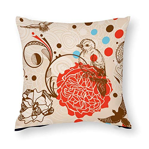 YY-one Decorative Throw Pillow Covers Garden Seamless Pattern Decorative Throw Pillow Case Cushion Cover Cotton For Sofa Couch Chair Seat,Square 18 X 18 Inches