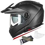 ILM Motorcycle Full Face Modular ATV Helmet Three in One Casco with Pinlock Anti Fog Visor for Men Women DOT(Matte Black M)