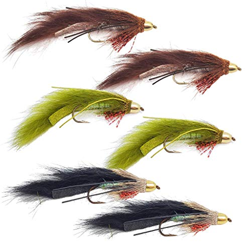 ICE FLIES Streamer fly Size 2 6 8 and 10 4 3-pack Muddler brown