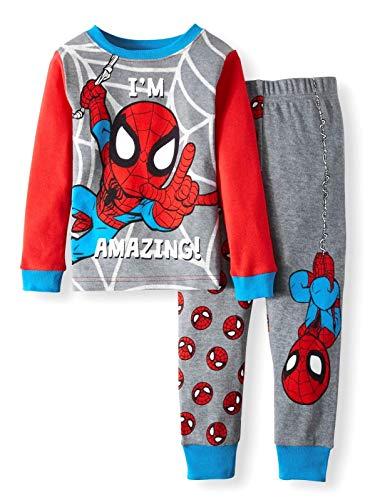 AME Marvel Spiderman Im Amazing Toddler Boy Cotton Tight Fit Pajamas,Gray,5T