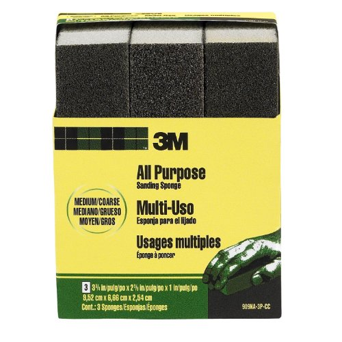 3M Medium/Coarse Sanding Sponge, 3-3/4-in x 2-5/8-in x 1-in, 3-Pack