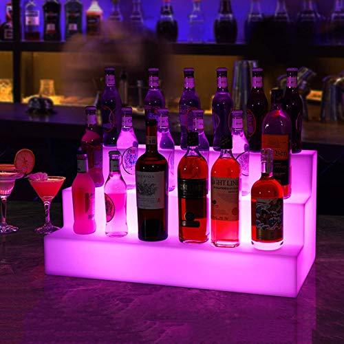 HYDDG Estante de exhibición de botella de licor iluminado LED acrílico de 3 niveles, estantes de vino con control remoto RF de color, estantes de encimera para el hogar comercial bar fiesta
