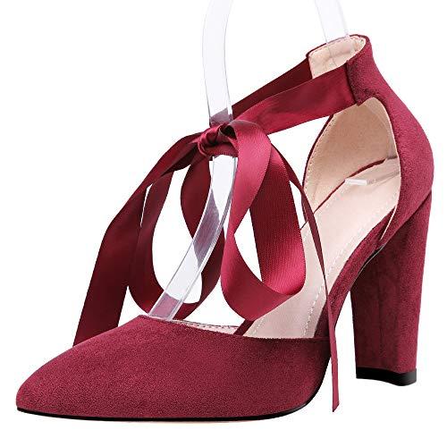 Mediffen Puntiagudo Sandalias Tacón Ancho Mujer Correa De Tobillo Noche Zapatos Moda Tacón Alto Fiesta Vestido Prom Sandalias Vino Rojo Talla 37 EU/38Asiática