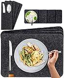 Miqio® - Design 12 teiliges Premium Platzset - Filz und Leder- für 4 Personen, waschbar, je 4 Tischsets, Glas-Untersetzer, Bestecktaschen (dunkelgrau anthrazit)