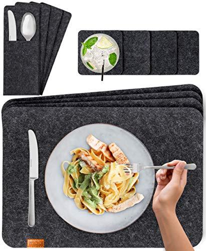 Miqio® Design Filz Tischset abwaschbar | Mit Marken Echtleder Label | 12er Set - 4 Platzsets abwaschbar, Glasuntersetzer, Bestecktaschen | dunkel grau anthrazit | Filzmatte Platzdeckchen abwischbar