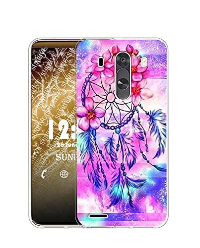Sunrive Funda Compatible con LG G3, Silicona Slim Fit Gel Transparente Carcasa Case Bumper de Impactos y Anti-Arañazos Espalda Cover(Q Atrapasueños)