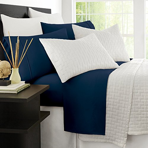 Zen Bamboo Luxury 1500 Series Bed Sheets - Eco-Friendly, Hypoallergenic and Wrinkle Resistant Rayon Derived from Bamboo - 4-Piece - Queen - Navy Blue