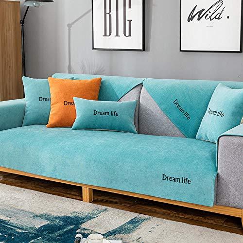 Suuki Sofa Protector Couch Decken Couch Shield,Sofabezüge für Ledersofa und Stoffsofa,Rutschfester Rastplatz-Sofaschutz,Wohnzimmer rutschfeste 2/3/4/5 Sitzer-Türkis_110 * 110 cm