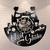 wtnhz LED-Nail Art Orologio da Parete in Vinile Orologio da Parete Salone per Unghie Studio Logo Aziendale Decorazione da Parete Retro Vinile Silenzioso Orologio da Parete Regalo Manicure