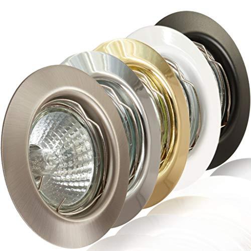 Preisvergleich Produktbild 1x Deckeneinbaurahmen Deckeneinbaustrahler Deckeneinbauleuchte Einbaurahmen Einbaustrahler Einbauleuchte Einbauspot Einbauring Metall LED Halogen GU10 MR16 (Weiß)
