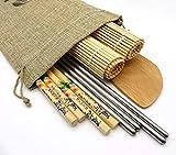 Sushi Kit con Palillos de Acero Inoxidable, Palillos de Madera, esterillas, y Paleta de bambú. con Bolsa de Lino de Regalo (Kit Basico)