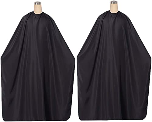 65x49inch Professional Hair Salon Cape with Adjustable Snap Closure, Black Waterproof Hair Cutting Coloring Styling G...