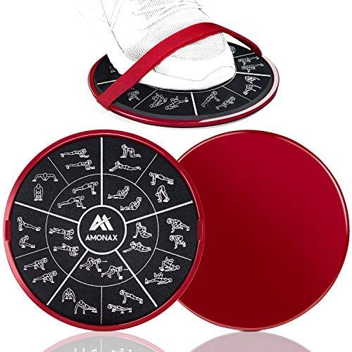 Amonax Gleitscheiben Fitness Doppelseitige Slider-Übung core Fitness Scheibe Gym Gliding Discs für Bauchmuskeltraining Übungen Teppich Holzböden für Hause Training, gleitscheibe Sport Slides