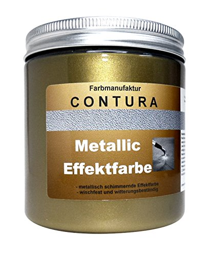 CONTURA Effektfarbe Vaja Gold 100ml Metallic Effekt Lack Shabby Chic Farbe Schablone zum schablonieren Bastelfarbe