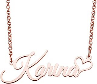 Personalized Customized Rose Gold Plated Stainless Steel Name Necklace