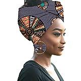 HZQIFEI Mujer Accesorios para El Cabello Moda Colores Brillantes Hijab de Impresión de Patrones con Pendientes de Arco (Style#4, 55 * 180cm)