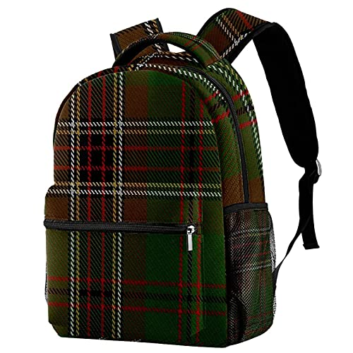 XiangHeFu Mochila ligera para mochila de viaje escolar para niñas y niños Murphy District Tartan Mochila estampada