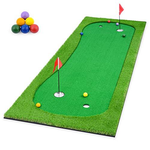 ikkle Golf Set Sfera di, Putting Mat - Interni Esterni Portatile Professionale Pratica minigolf Trainer Putting Green con, 39.4' * 118.2' + 6 Palline da Golf