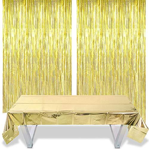 O-Kinee Gold Glitzer Vorhänge Deko Vorhange 2 Stück + Decorative Tischdecke 1m*2.7m Gold, für Party Dekoration Geburtstag Hochzeit Braut Shower Bühne Decor