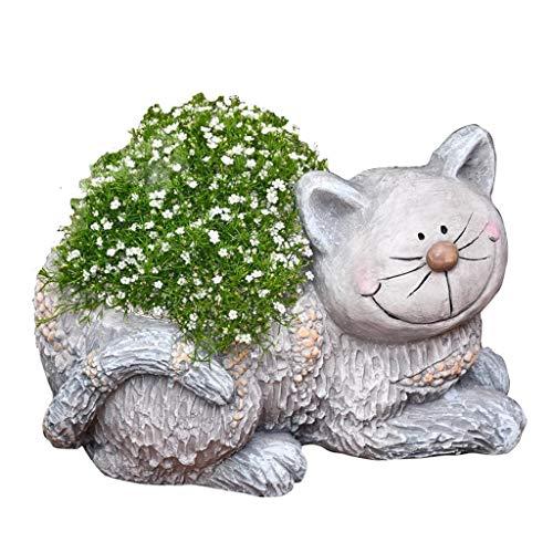 Garden Ornaments Outdoor 24cm Cute Animal Cat Flowerpot Sculpture Adornmentgarden Potted Plants Accessories (Color : Gray, Size : 34 * 23 * 24cm)